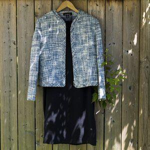 JNY Tweed Blazer 14 with Navy Slip Dress 12